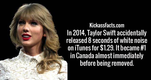 In 2014, Taylor Swift accidentally released 8 seconds of white noise on iTunes for $1.29. It became #1 in Canada almost immediately before being removed.