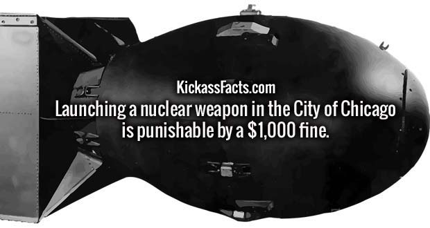 Launching a nuclear weapon in the City of Chicago is punishable by a $1,000 fine.