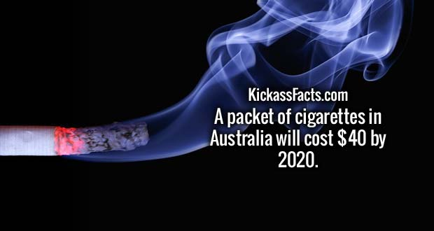 A packet of cigarettes in Australia will cost $40 by 2020.