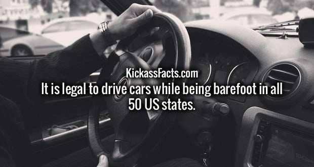 It is legal to drive cars while being barefoot in all 50 US states.
