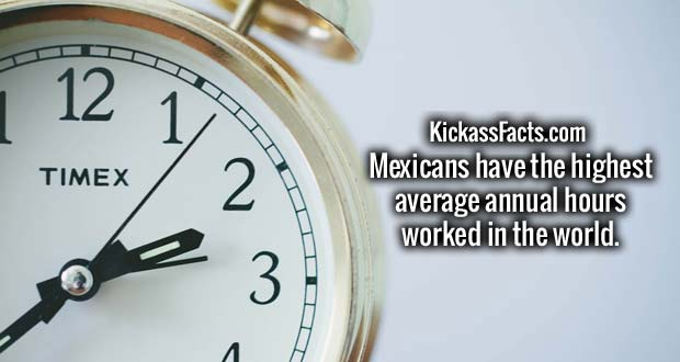 Mexicans have the highest average annual hours worked in the world.