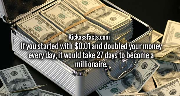 If you started with $0.01 and doubled your money every day, it would take 27 days to become a millionaire.