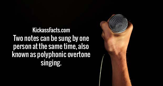 Two notes can be sung by one person at the same time, also known as polyphonic overtone singing.