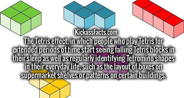 The Tetris effect, in which people who play Tetris for extended periods of time start seeing falling Tetris blocks in their sleep as well as regularly identifying Tetromino shapes in their everyday life, such as the layout of boxes on supermarket shelves or patterns on certain buildings.