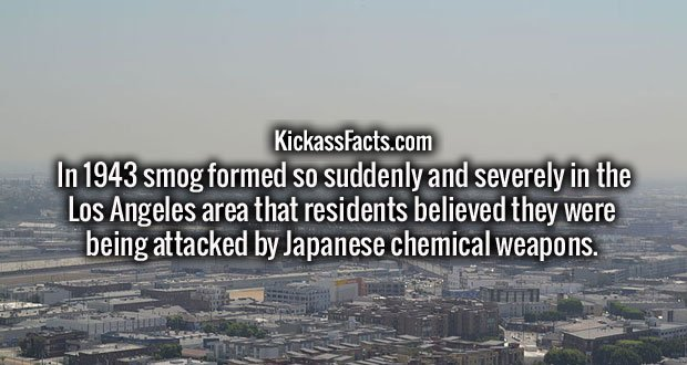 In 1943 smog formed so suddenly and severely in the Los Angeles area that residents believed they were being attacked by Japanese chemical weapons.