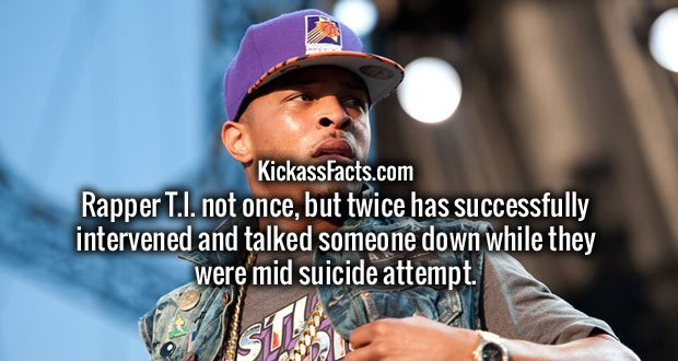 Rapper T.I. not once, but twice has successfully intervened and talked someone down while they were mid suicide attempt.