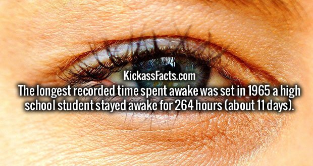 The longest recorded time spent awake was set in 1965 a high school student stayed awake for 264 hours (about 11 days).