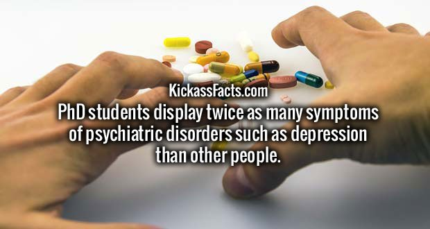 PhD students display twice as many symptoms of psychiatric disorders such as depression than other people.