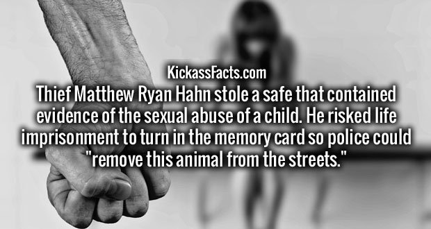 """Thief Matthew Ryan Hahn stole a safe that contained evidence of the sexual abuse of a child. He risked life imprisonment to turn in the memory card so police could """"remove this animal from the streets."""""""