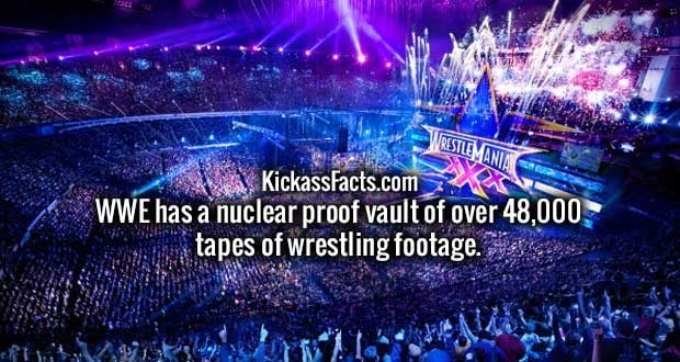 WWE has a nuclear proof vault of over 48,000 tapes of wrestling footage.