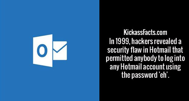 In 1999, hackers revealed a security flaw in Hotmail that permitted anybody to log into any Hotmail account using the password 'eh'.