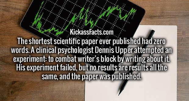 The shortest scientific paper ever published had zero words. A clinical psychologist Dennis Upper attempted an experiment: to combat writer's block by writing about it. His experiment failed, but no results are results all the same, and the paper was published.
