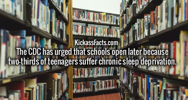 The CDC has urged that schools open later because two-thirds of teenagers suffer chronic sleep deprivation.