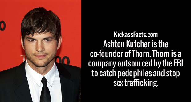 Ashton Kutcher is the co-founder of Thorn. Thorn is a company outsourced by the FBI to catch pedophiles and stop sex trafficking.