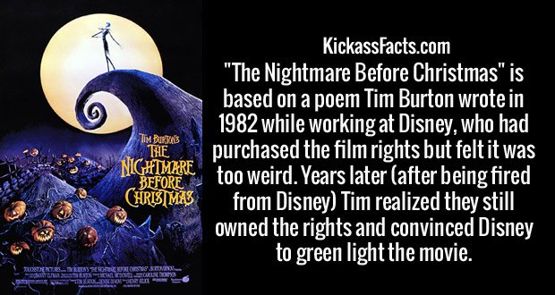 """. """"The Nightmare Before Christmas"""" is based on a poem Tim Burton wrote in 1982 while working at Disney, who had purchased the film rights but felt it was too weird. Years later (after being fired from Disney) Tim realized they still owned the rights and convinced Disney to green light the movie."""