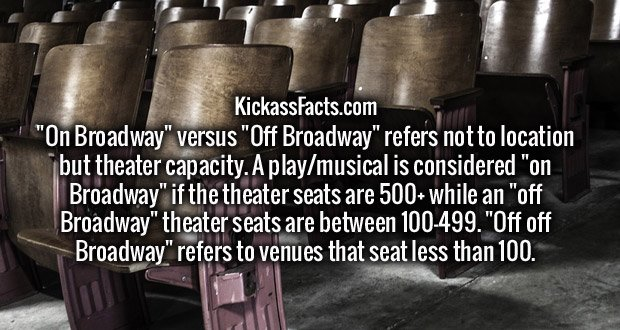 """On Broadway"" versus ""Off Broadway"" refers not to location but theater capacity. A play/musical is considered ""on Broadway"" if the theater seats are 500+ while an ""off Broadway"" theater seats are between 100-499. ""Off off Broadway"" refers to venues that seat less than 100."