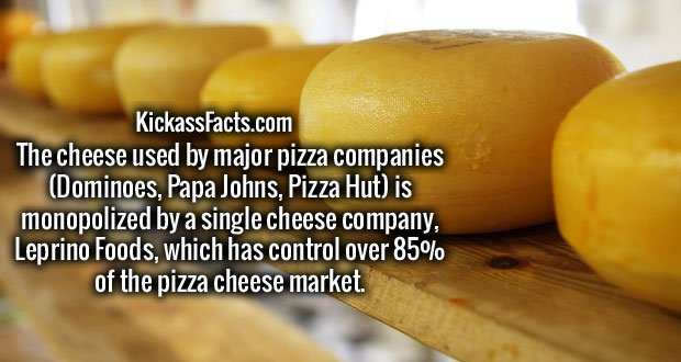 The cheese used by major pizza companies (Dominoes, Papa Johns, Pizza Hut) is monopolized by a single cheese company, Leprino Foods, which has control over 85% of the pizza cheese market.