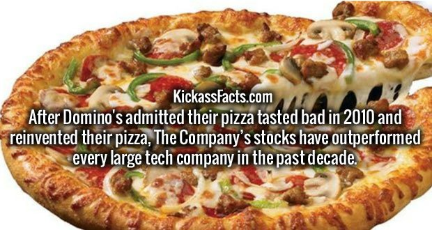 After Domino's admitted their pizza tasted bad in 2010 and reinvented their pizza, The Company's stocks have outperformed every large tech company in the past decade.