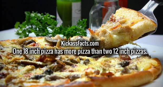 One 18 inch pizza has more pizza than two 12 inch pizzas.
