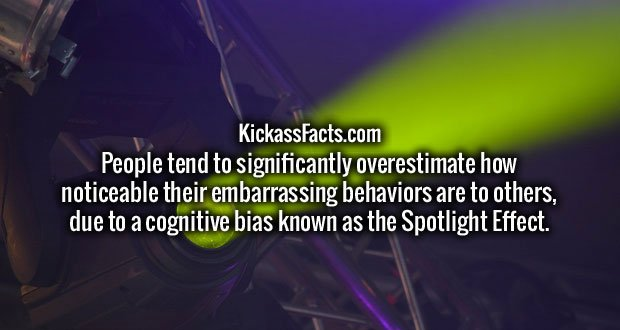 People tend to significantly overestimate how noticeable their embarrassing behaviors are to others, due to a cognitive bias known as the Spotlight Effect.