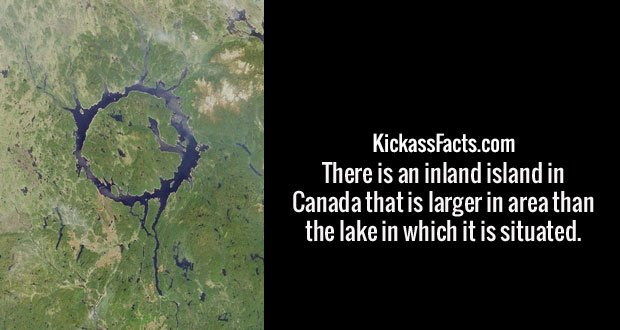 There is an inland island in Canada that is larger in area than the lake in which it is situated.