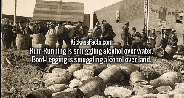 Rum-Running is smuggling alcohol over water. Boot-Legging is smuggling alcohol over land.