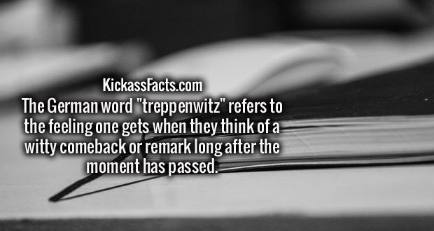 "The German word ""treppenwitz"" refers to the feeling one gets when they think of a witty comeback or remark long after the moment has passed."
