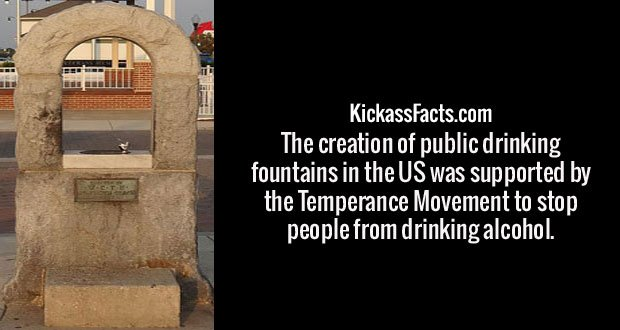 The creation of public drinking fountains in the US was supported by the Temperance Movement to stop people from drinking alcohol.