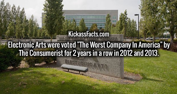 """Electronic Arts were voted """"The Worst Company In America"""" by The Consumerist for 2 years in a row in 2012 and 2013."""