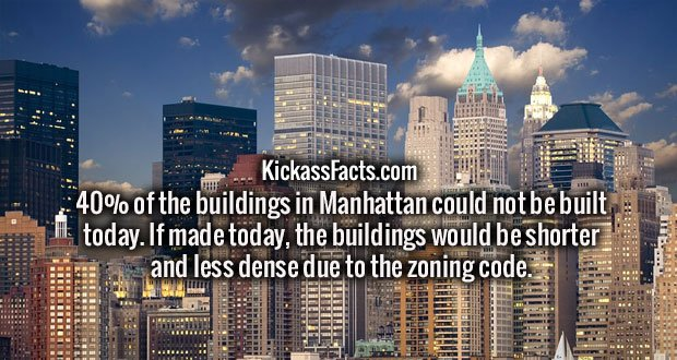 40% of the buildings in Manhattan could not be built today. If made today, the buildings would be shorter and less dense due to the zoning code.