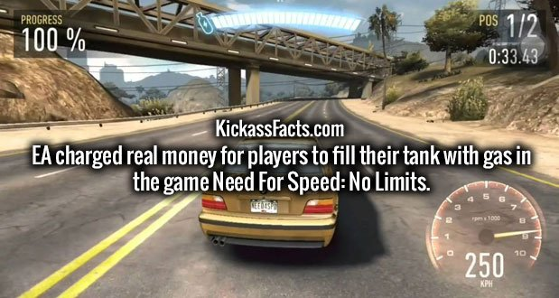 EA charged real money for players to fill their tank with gas in the game Need For Speed: No Limits.