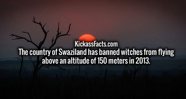 The country of Swaziland has banned witches from flying above an altitude of 150 meters in 2013.