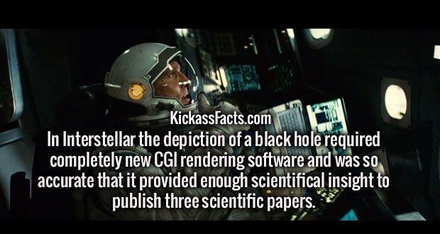 In Interstellar the depiction of a black hole required completely new CGI rendering software and was so accurate that it provided enough scientifical insight to publish three scientific papers.