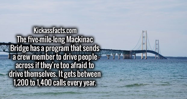 The five-mile-long Mackinac Bridge has a program that sends a crew member to drive people across if they're too afraid to drive themselves. It gets between 1,200 to 1,400 calls every year.