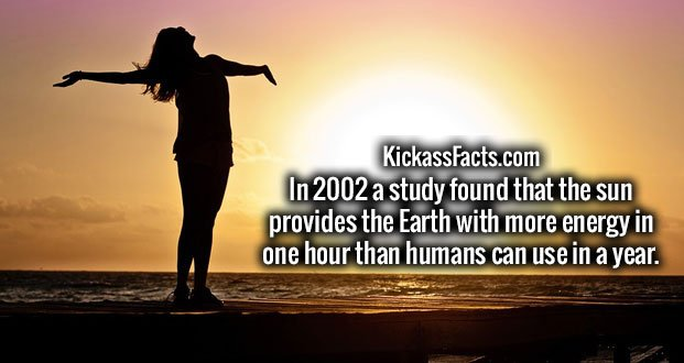 In 2002 a study found that the sun provides the Earth with more energy in one hour than humans can use in a year.
