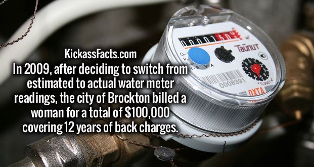 In 2009, after deciding to switch from estimated to actual water meter readings, the city of Brockton billed a woman for a total of $100,000 covering 12 years of back charges.