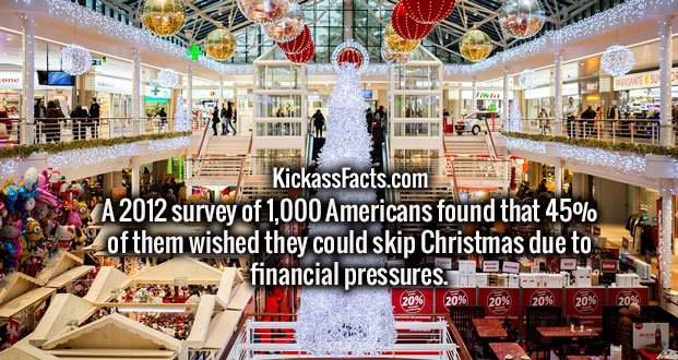 A 2012 survey of 1,000 Americans found that 45% of them wished they could skip Christmas due to financial pressures.