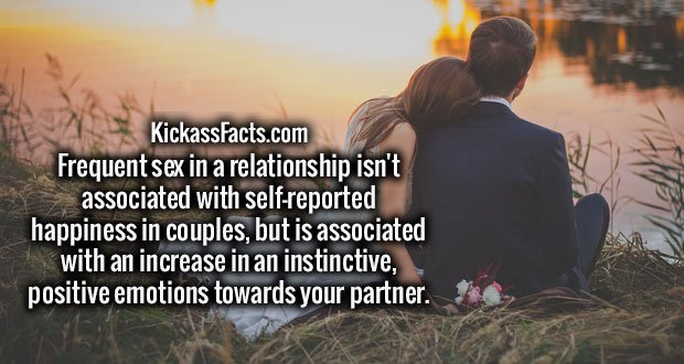 Frequent sex in a relationship isn't associated with self-reported happiness in couples, but is associated with an increase in an instinctive, positive emotions towards your partner.