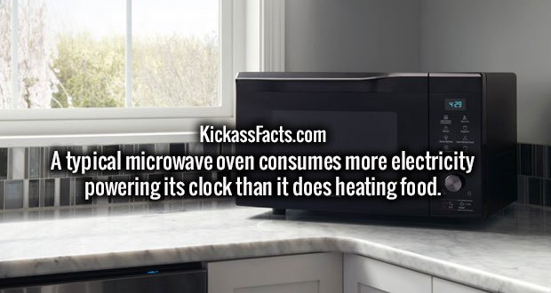 A typical microwave oven consumes more electricity powering its clock than it does heating food.