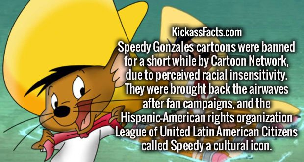 Speedy Gonzales cartoons were banned for a short while by Cartoon Network, due to perceived racial insensitivity. They were brought back the airwaves after fan campaigns, and the Hispanic-American rights organization League of United Latin American Citizens called Speedy a cultural icon.