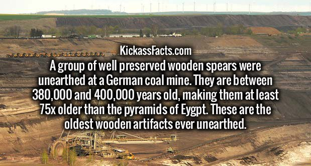 A group of well preserved wooden spears were unearthed at a German coal mine. They are between 380,000 and 400,000 years old, making them at least 75x older than the pyramids of Eygpt. These are the oldest wooden artifacts ever unearthed.