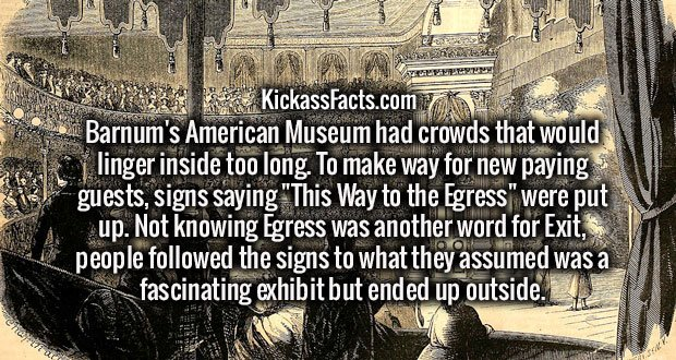 """Barnum's American Museum had crowds that would linger inside too long. To make way for new paying guests, signs saying """"This Way to the Egress"""" were put up. Not knowing Egress was another word for Exit, people followed the signs to what they assumed was a fascinating exhibit but ended up outside."""