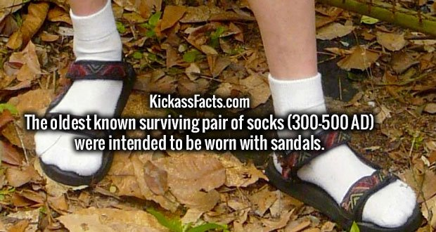 The oldest known surviving pair of socks (300-500 AD) were intended to be worn with sandals.