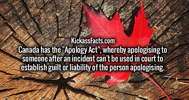 "Canada has the ""Apology Act"", whereby apologising to someone after an incident can't be used in court to establish guilt or liability of the person apologising."