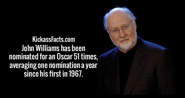 John Williams has been nominated for an Oscar 51 times, averaging one nomination a year since his first in 1967.
