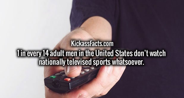 1 in every 14 adult men in the United States don't watch nationally televised sports whatsoever.