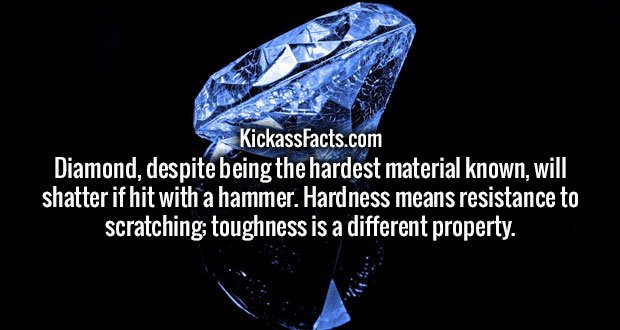 Diamond, despite being the hardest material known, will shatter if hit with a hammer. Hardness means resistance to scratching; toughness is a different property.