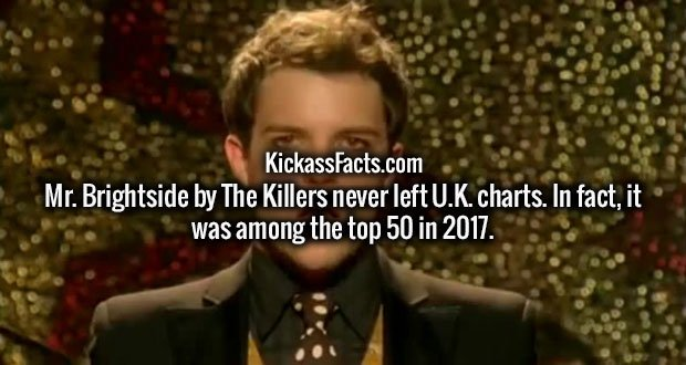 Mr. Brightside by The Killers never left U.K. charts. In fact, it was among the top 50 in 2017.