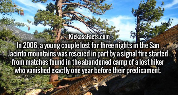 In 2006, a young couple lost for three nights in the San Jacinto mountains was rescued in part by a signal fire started from matches found in the abandoned camp of a lost hiker who vanished exactly one year before their predicament.