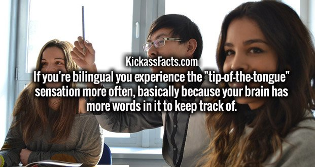 """If you're bilingual you experience the """"tip-of-the-tongue"""" sensation more often, basically because your brain has more words in it to keep track of."""